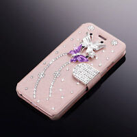 NEW Bling Diamond PU Leather Magnetic Flip Wallet Cover Case For iPhone/Samsung
