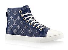 NIB RARE Louis Vuitton DENIM HI-TOP SNEAKERS TENNIS Shoes, 37.5, 7.5 8