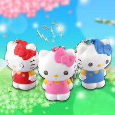 3D Cute Cartoon cat Light Up LED Torch With sound Keyrings KeyChain TOYS USYS83