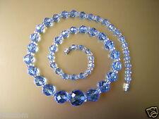 Schöne Kristallglas Glas Kette facettierte Kugeln Blau 44,7 g/ 47 cm Glasschmuck