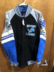Detroit Lions Men's Medium Varsity Letterman Jacket Nfl GIII Authentic