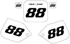 1987-1988 HONDA CR 125 Custom Pre Printed White Backgrounds Black Numbers