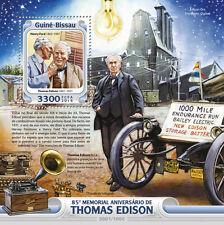 Guinea Bissau 2016 Thomas Edison Bulb Gramophone  Phonographn Henry Ford S/S 107