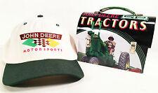 VINTAGE JOHN DEERE MOTORSPORTS HAT & FARM TRACTOR TIN LUNCHBOX SET CHAD LITTLE