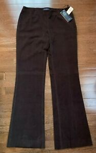 Piazza Sempione brown cotton stretch pants tiny corduroy flat front size 46 NWT