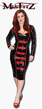 Misfitz black/red buckle pencil sweetheart mistress sizes 8-32/made to measure