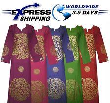 Islamic Arabic Letters Cotton Abaya Galabeya Jilbab Dress Muslim Galabya Hijab