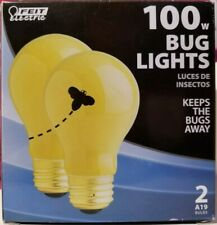 2 BUG LIGHT BULB 100W INCANDESCENT FEIT ELECTRIC A19 PORCH PATIO CAMPING POOL