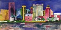 "Orig. watercolor painting by artist Zina Andresini Poliszuk  ""Baltimore Skyline"""
