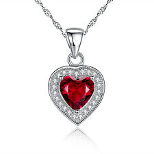 "1.62 Ct Ruby Heart Pendant Necklace 925 Sterling Silver w/ 18"" Chain"