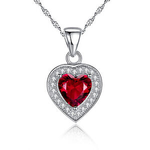 """1.62 Ct Ruby Heart Pendant Necklace 925 Sterling Silver w/ 18"""" Chain"""
