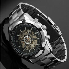 Skeleton Automatic Watches For Men Silver Stainless Steel Wrist Watch Ornate