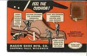 Chippewa falls WI Mason Shoe Co NOVELTY Sample Insole Technology Postcard