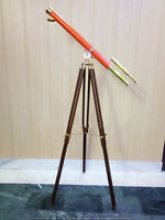 "Nautical Wooden Tripod Stand Telescope 39"" Tube Spyglass Sailor Ship Directional"