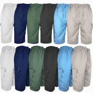 MENS 3/4 LENGTH SHORTS COTTON CARGO COMBAT SUMMER HOLIDAY PANTS NEW