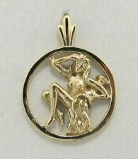 14K solid  yellow gold Aquarius  Zodiac pendant in a circle.