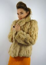 VINTAGE LUXE RABBIT FUR JACKET COAT GOLDEN CREAM S/M