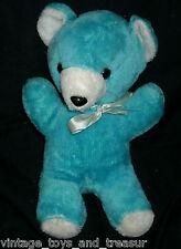 "12"" VINTAGE ACE NOVELTY BABY BLUE TEDDY BEAR STUFFED ANIMAL PLUSH TOY W BOW BOY"