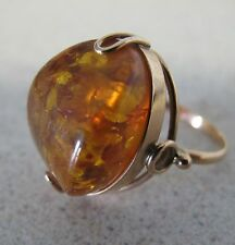 Russian Rose Pink Gold RING Large Natural AMBER Stone Soviet Russia sz 6.5