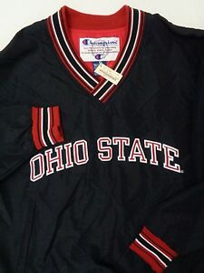 Vintage OHIO BUCKEYES CHAMPION Windbreaker Pullover Mens S Small SEWN Lined NOS