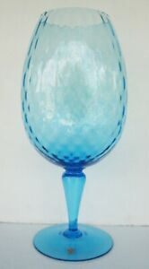 "Tall Vtg Mid-Century Hand-Blown Blue Glass Pedestal Wine Glass Vase Italy 18.5"""