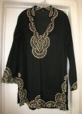 KAREENA'S Black Embellished Long Sleeve Embroidered Cotton Tunic  Size M • NWOT!