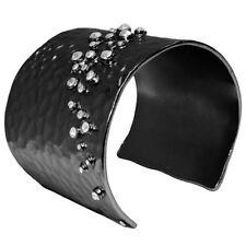 Karine Sultan Hematite & Crystal Hammered Cuff Bracelet Made in France Celeb Fav