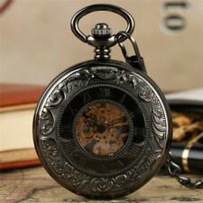 Retro Roman Numbers Dial Skeleton Mechanical Hand Winding Pocket Watch Chain