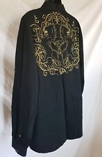 Mens XL Black Club Shirt Button Front Gold Embroidered Back Sean John Piddy