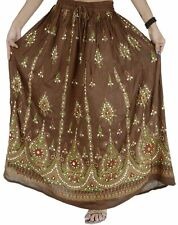 Indian LONG SKIRT HAND BEADED PAINTED BOHEMIAN GYPSY MAXI ELASTIC SEQUINS Brown