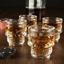 Set 4 Bicchierini SHOT Bicchiere Teschio SKULL in vetro Liquote PUB BAR Shottini