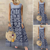UK Women Summer Sleeveless Printed Casual Loose Kaftan Long Maxi Dress Plus Size