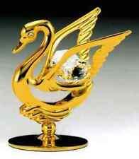 "SWAROVSKI CRYSTAL ELEMENTS ""Swan"" FIGURINE - FREE STANDING 24K GOLD"
