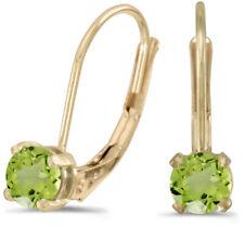 14k Yellow Gold Round Peridot Lever-back Earrings