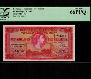 Bermuda 10 Shillings 1957 P-19b * PCGS Gem Unc 66 PPQ * Queen Elizabeth *
