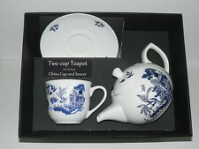 Blue Willow Pattern 2 cup teapot,cup & saucer gift boxed.cup saucer teapot boxed