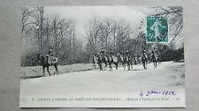 CPA 77. Chasse à courre en forêt de Fontainebleau. Maîtresse d'équipage... 1912.