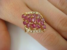 UNUSUAL 14K YELLOW GOLD & 1.50 CT T.W. GENUINE RUBIES & DIAMONDS COCKTAIL RING