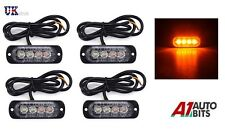 4x Amber 4 LED Car Truck Emergency Beacon Lights Hazard Flash Strobe Bar Warning