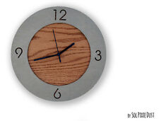 Concrete Circle With Wooden Hole - TYPE 1 Wall Clock - Modern Wall Clock.