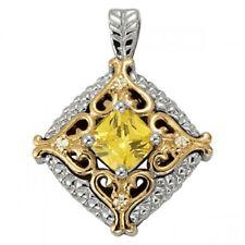 NEW 14k TWO-TONE GOLD DIAMOND & YELLOW TOPAZ RHOMBUS HEART PENDANT NECKLACE