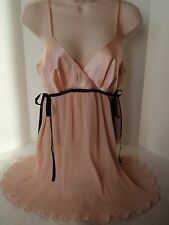 Intimates by Flora Pink Polyester Camisole Slip Permanent Pleat Baby Doll Sz M
