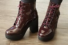 435cfe93742 New Look Burgundy Patent Chunky Lace Up Strap Back Shoe Ankle Boots 5