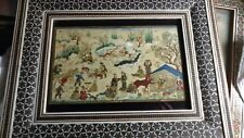 Minuaturist iran persia vintage art colorful village 7 x 8 in khatam wood frame