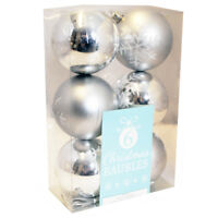 6 x Christmas Tree Baubles: 7 Styles (Festive Decoration Xmas Display Ornament)