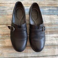 Dansko Black Leathen Clogs, size 38 7.5 8 FLAW