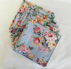 """Vintage Cloth Napkins 17"""" Cottagecore Gingham Floral.. Set Of 6"""