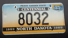 "NORTH DAKOTA 1993  LOW NUMBER 4 DIGIT  CENTENNIAL LICENSE PLATE "" 8032 "" ND"