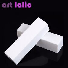 2 X WHITE NAIL MANICURE BUFFER BUFFING SANDING BLOCK FILE SALON ART ACRYLIC