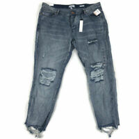 William Rast Womens Jeans Destroyed Mid-Rise Ankle Medium Blue Plus Size